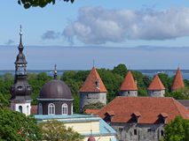 View over Tallinn. Taken from one of the popular viewing platforms on Toompea Hill, the site of the first settlement in Tallinn. You can see several towers of Stock Image