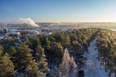 View over Tampere city and snowy trees in Pyynikki Royalty Free Stock Photo