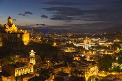 Night scene over the city of Tbilisi in Georgia. Stock Image