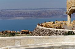 View over the terrace of the museum at the Dead Sea in Jordan with the mountains of Israel on the opposite bank. Middle east Royalty Free Stock Photos