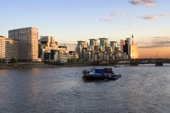 View over the Thames. Showing Vaxhall Bridge , Boats and Office Buildings Royalty Free Stock Images