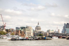 View over the Thames with Saint Paul Cathedral. View over the Thames with the Saint Paul Cathedral in the background in London, the capital of the United Kingdom Stock Images