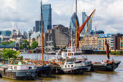 View over the Thames to the City of London Royalty Free Stock Images