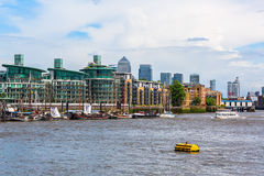 View over the Thames to the docklands with the Canary Wharf in London, UK Royalty Free Stock Image