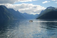 View Over The Fjord Sunnylvsfjorden In Norway Stock Photos