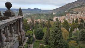 View over Tivoli from Villa D'Este. Balcony on UNESCO world heritage site Villa d'Este in Tivoli, Italy royalty free stock photos