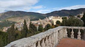 View over Tivoli from Villa D'Este. Balcony on UNESCO world heritage site Villa d'Este in Tivoli, Italy stock photo