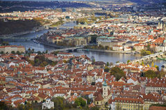 View over to Charles Bridge, Prague. Prague look from the 'Eiffel Tower' over to the center Stock Photography