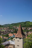View over the tower of the fortified church in Biertan Royalty Free Stock Images
