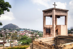 View over the town of Amedzofe, Volta Region, Ghana Stock Photos