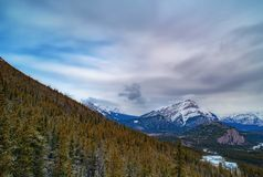 View over the town of Banff and the Canadian Rockies seen from S. Ulphur Mountain.You can go to the mountaintop with a gondola Stock Photography