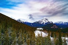 View over the town of Banff and the Canadian Rockies seen from S. Ulphur Mountain.You can go to the mountaintop with a gondola Stock Photos