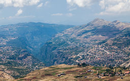 View over town of Bsharri in Qadisha valley in Lebanon Royalty Free Stock Photography