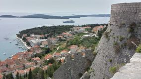 View over town of Hvar Croatia from Spanjola Fortress Royalty Free Stock Images