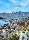 The view over the town of Kotor, Montenegro, the bay and the mou Royalty Free Stock Images