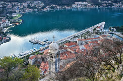 The view over the town of Kotor, Montenegro, the old chapel, the Stock Photography