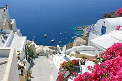 View over town Oia island Santorini, Greece. Hot summer holiday in greece Royalty Free Stock Photography