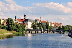 View over town of Pisek, Southern Bohemia, Czech Republic stock images
