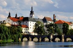 View over town of Pisek, Southern Bohemia, Czech Republic stock photography