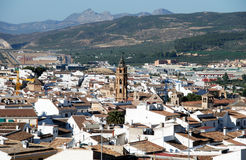 View over town rooftops, Antequera. View over the town rooftops with San Sebastian church tower in the centre, Antequera, Malaga Province, Andalucia, Spain Royalty Free Stock Image