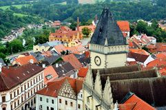 View over town of Tabor from the bell-tower, Southern Bohemia, Czech Republic royalty free stock image