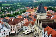 View over town of Tabor from the bell-tower, Southern Bohemia, Czech Republic stock image
