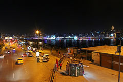View over traffic next to Eminonu pier at night in Istanbul, Turkey Royalty Free Stock Photos