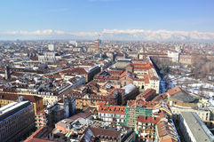 View over Turin, Italy. Turin is a major city as well as a business and cultural centre in northern Italy, capital of the Piedmont  region, located mainly on the Stock Photos