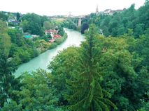 View over turquoise river in Bern royalty free stock photography