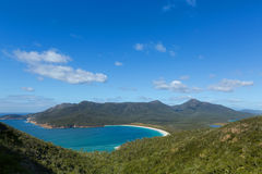View over turquoise waters of Wineglass Bay in Freycinet National Park, Tasmania island, Australia. View over turquoise waters of Wineglass Bay, Tasmania`s stock photos