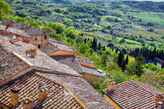 View over the Tuscan countryside and the town of Montepulciano,. Italy Stock Photo