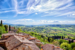 View over the Tuscan countryside and the town of Montepulciano,. Italy Royalty Free Stock Photography