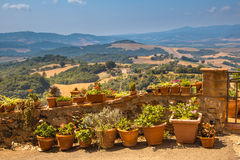 View over Tuscany Landscape with Pots of Flowers along the Balustrade