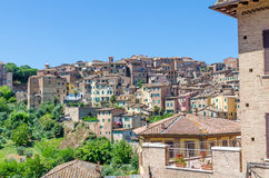 View over typical historic Italian houses in Unesco World Heritage town Siena, Italy, Europe Royalty Free Stock Photography
