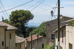 View over typical houses to the mountains in Provence, south of Stock Image