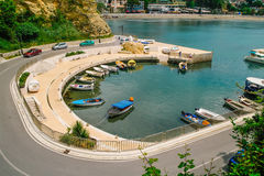 View over Ulcinj harbour, Montenegro. View over the harbour of Ulcinj in the south of Montenegro Royalty Free Stock Images
