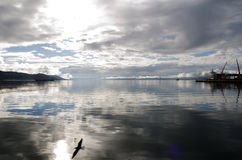 View over the Ushuaia Bay, Patagonia, Argentina Stock Photo