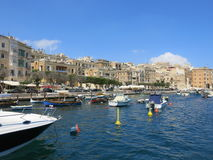 View over Valletta marina. With boats and yachts from the Grand Harbour Stock Photo
