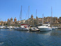 View over Valletta marina. With boats and yachts from the Grand Harbour Stock Photos