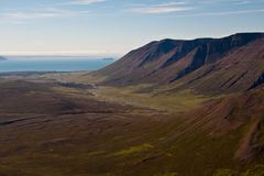 View over valley. View over beautiful valley in Iceland, summertime Stock Photos