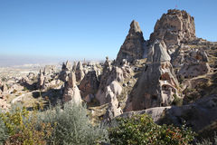 View over valley with cave houses, in Cappadocia, Turkey. View over valley with ancient cave houses in Cappadocia, Turkey, near Goreme, Kayseri and Urgup Stock Photography