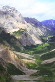 View over the valley of the gramai alp in the karwendel mountains of the european alps Royalty Free Stock Images
