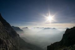 View over a valley from high altitude royalty free stock image