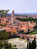 View over Verona. View over the city of Verona, Italy with Ponte di Pietra and Duomo Royalty Free Stock Images
