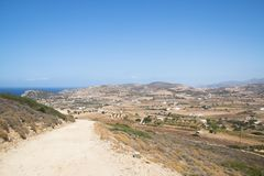 View over Antiparos island, Greece. View over the very scenic island of Antiparos, one of the Cyclade islands in Greece stock images