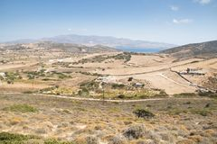 View over Antiparos island, Greece. View over the very scenic island of Antiparos, one of the Cyclade islands in Greece stock photography