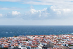 View over village near ocean Royalty Free Stock Photo