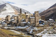 View over the village of Ushguli in Georgia known as the highest village in Europe. Stock Images