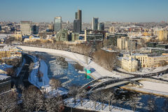 A view over Vilnius, Lithuania. A view over Vilnius (capital of Lithuania) new town from the hill of Gedinimas castle in winter time Royalty Free Stock Image