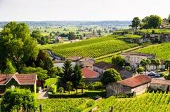 View over vineyards around the town of Saint-Emilion. Vineyard landscape near Saint-Emilion, Bordeaux, France stock photo
